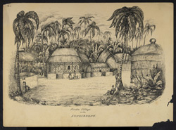 Village in a clearing, Sundarbans. Worked up from an earlier sketch of January 1839